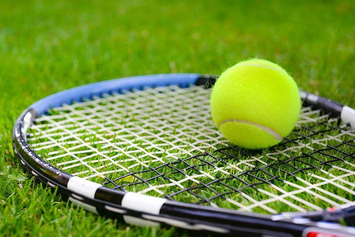 Tennis court lawn c racquet &ball